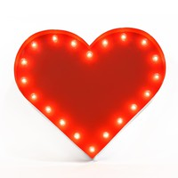 Heart Vintage Marquee Lights Sign (Red Finish)