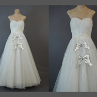 1950s Strapless White Tulle Gown, fits 34 inch bust, Satin Bow Appliques with Rhinestones, Beads & Sequins, Vintage Wedding Prom Dress