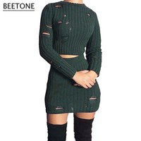 Beetone Knitted Bodycon Vintage Dress Hollow Out Solid Sweater 2 Piece Set Dresses Women New Year Overalls Plus Size Vestidos