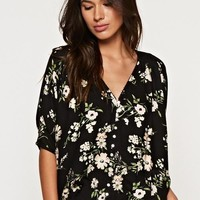 Button Front V Neck Blouse With Lattice and Edge Trim Detail