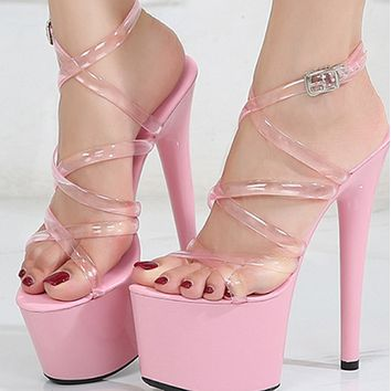 Explosive patent leather stiletto sexy platform super high sandals shoes