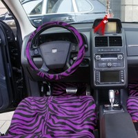 OxGord® 21pc Set of Zebra Print Car Seat Covers w/Deluxe Velour Animal Carpet Floor Mats, Steering Wheel Cover & Shoulder Pads - Airbag Compatible - Front Low Back Buckets - 50/50 or 60/40 Rear Split Bench - Universal Fit for Cars, Truck, SUV, or Van, Purp