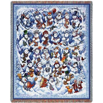 SNOW FOLKS CHRISTMAS  AFGHAN THROW BLANKET