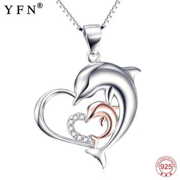 Necklace 925 Sterling Silver Necklace Love Heart Jewelry Mother Child Dolphin Pendant Necklaces Fashion Christmas Gifts GNX10051