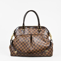 LV Louis Vuitton Trending Women Shopping Brown Tartan Print Satchel Bag Handbag I