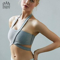 DANENJOY Women Sport Yoga Top Bra Running Gym Workout Bandage Fitness Sports Shirt Woman Yoga Vest Athletic Padding Bras  2018