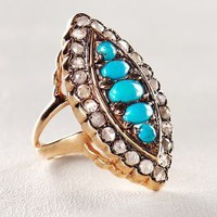Arik Kastan Turquoise And Diamond Marchioness Ring In 14k Rose Gold in Turquoise Size: All Rings