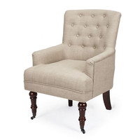 Beige European Style Tufted Accent Chairs