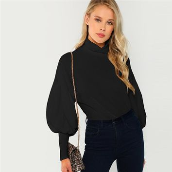 Black Office Lady Mock Neck Leg-of-Mutton Sleeve Solid Pullover Sweatshirt Workwear Elegant Women Sweatshirts