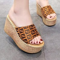 FENDI Summer Hot Sale Women Print Thick Sole Sandal Slipper Shoes Brown