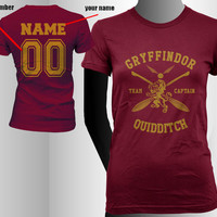 Custom Name and Number on back, Gryffindor Quidditch team Captain YELLOW print on Women tee (American Apparel 2102)