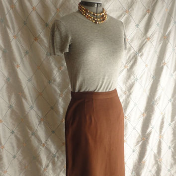 ON SALE 60s Skirt // Vintage 1960s Brown Linen Skirt with metal side zipper Size M