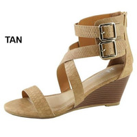 2 Ankle Buckle Wedge