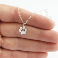 Necklace Women Cats and Dogs Paws Print Necklace Animal Jewelry