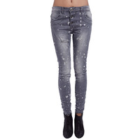JEANS IN WASHED GRAY WITH RIPPED KNEE