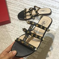 VALENTINO Women Fashion Leather Slipper Flats Shoes