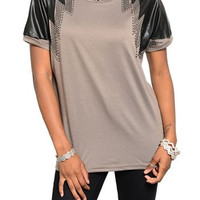 Clearance- Coffee Faux Leather Tee
