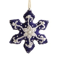 Snowflake Embroidered Holiday Ornament