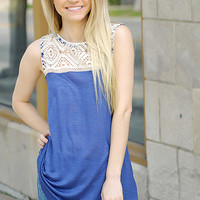 New Beginnings Lace Tank (Ink Blue)
