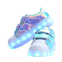 Fashion Children Shell Toe USB Rechargeable LED Luminous Shoes, Comfortable Kids Entertaining Casual Seakers For Boys And Girls