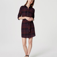 Plaid Tie Waist Shirtdress | LOFT
