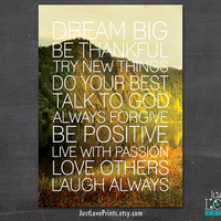 Words to Live By  - Christian Motivation - 5x7 Print