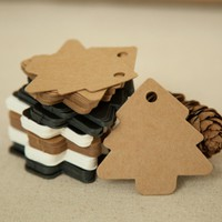 50pcs 5.5*5.4cm DIY Kraft Christmas Tree Shape Hang tag Christmas Party Deco Paper Cards Gift tag 171122