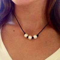 Triple Pearl Leather Choker