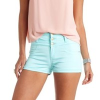 "Refuge ""Hi-Waist Shortie"" Colored Denim Shorts - Blue Tint"