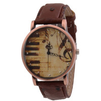 Retro Music Notes Piano Leather Band Strap Wrist Watch + Gift Box