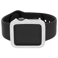 Mens Apple Watches Black Sport Band Simulated Diamond Silver Tone 38mm iOS Touch