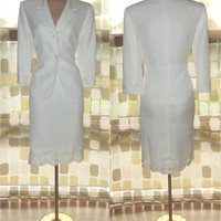 Vintage 80s SEXY Embroidered White Linen 2 Pc Dress Suit 8 Skirt & Jacket Power Suit