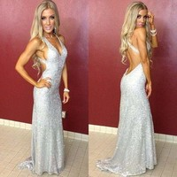 Prom Dresses Silver Evening Dresses Glitter Open Dresses