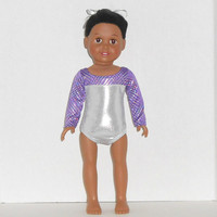 American Girl Doll Clothes Silver and Purple Leotard Gymnastics/Dance Competition fits 18 inch Dolls