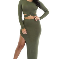 My Perfect Olive Two-Piece Dress