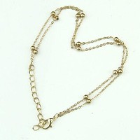 Cute Gold Double Chain Anklet Bracelet Ankle Foot Jewelry Barefoot Beach Anklet = 1706038084