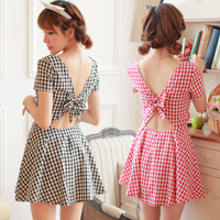 Sweet Back Bow Checked Dress
