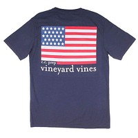 Custom USA Flag Pocket T-Shirt in Blue Blazer by Vineyard Vines