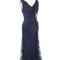 Ruched Navy Blue Lace Curvy Evening Gown