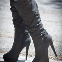 Gilly-45 Slouchy Buckle Knee High Sexy Black Boot - Shoes 4 U Las Vegas