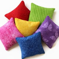 Rainbow Bean Bags Bold Brights Red Hot Pink Purple Blue Lime Green Yellow Homeschool Child's Sensory Toy (set of 6) US Shipping Included