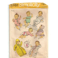 Vintage Baby Sewing Pattern, Infant Layette, 6 Months, Simplicity Pattern 8761, New Baby, Shower Gift, Baby Bunting Bag, Kimono Pattern, Bib