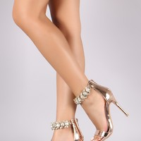 Shoe Republic LA Jeweled Embellished Ankle Strap Stiletto Heel
