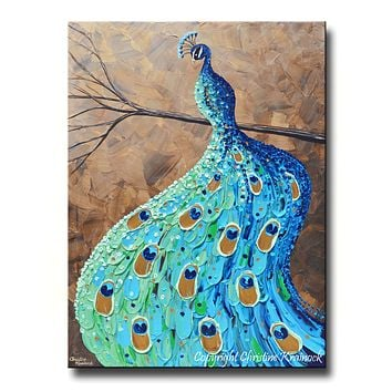 GICLEE PRINT Art Abstract Peacock Painting Modern Blue Canvas Prints Aqua Teal Brown Green Artwork