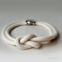 Eco friendly necklace. Rope jewelry.Urban and fashion.Natural color cotton rope, big knot and silver colored big fastener. Ready to ship.