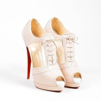DCCK2 Nude Christian Louboutin Leather Cut Out Lace Up Meree 160 Heels