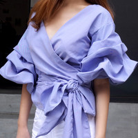 Fashionable Chic Bubble Sleeves Blue Gingham Wrap Top. One Size