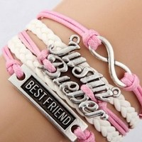 EmBest Antique Silver Sideways Charm Justin bieber Best friend Infinity Braided Pink Leather Bracelet Wristbands