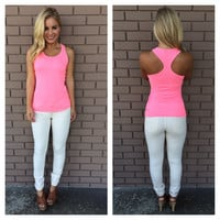 Highlighter Pink T-Back Cotton Tank