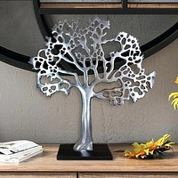 Stylish Aluminum Tree Decor with Block Base, Silver and Black By Casagear Home